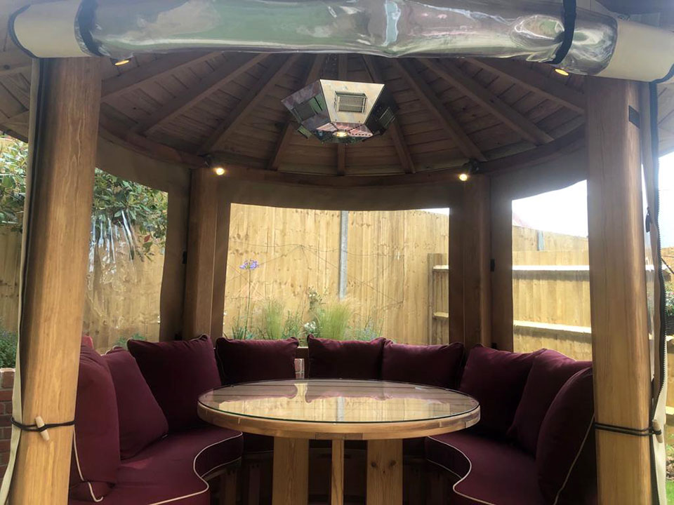 electrician fitting gazebo lighting